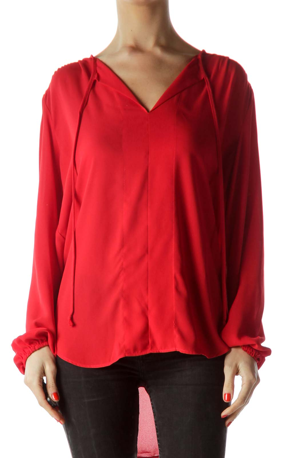 e425a0b21cdeb Shop Red V-Neck Long Sleeve Blouse clothing and handbags at SilkRoll ...